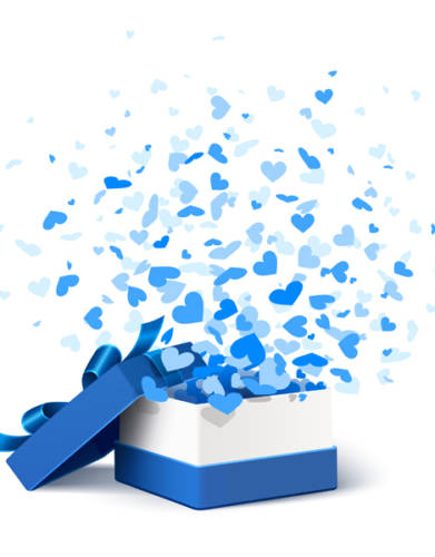 Blue Gift opens to show blue hearts