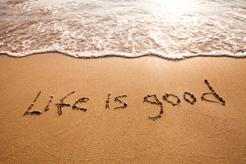 Life is Good Written in the Sand - SS